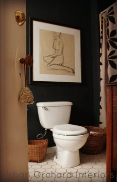 I'll finally be able to use my nude portraits! dark bathroom via Urban Orchard Interiors