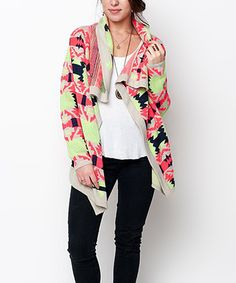Look at this #zulilyfind! Royal Pink Neon Painted Tribal Cardigan #zulilyfinds