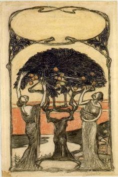Alegoría al Otoño. Carboncillo lavado multicolor. 1901/1902 44,1 x 29,7 cm. Artista: Ernst Barlach.