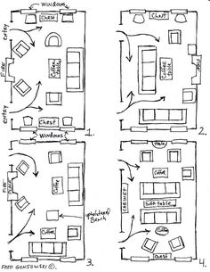 4 Furniture Layout Floor Plans for a Small Apartment Living Room ...