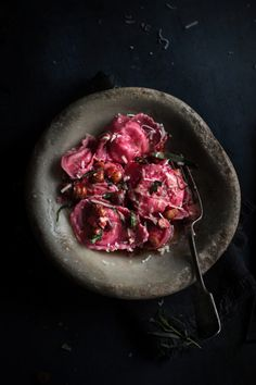 beet and ricotta pasta with orange and tarragon butter