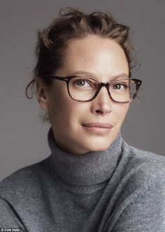 Four eyes: Both beauties don multiple iterations of sweater, with Christy even sporting a pair of glasses for one shot