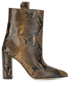 Multicolour leather snake print ankle boots from paris texas featuring a pointed toe, a mid-calf length, a high block heel and side pull tabs. Brown Ankle Boots, Thigh High Boots, High Heel Boots, Leather Ankle Boots, Heeled Boots, Paris Texas, Leopard Print Sandals, Stiletto Boots, Italian Shoes
