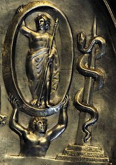 Patera from Parabiago. Detail: Aeon, Atlas and Zodiac.Silver with traces of guilding. Second half of the 4th century.Inv. No. A0.9.14264.Milan,Civic Archaelogical Museum.