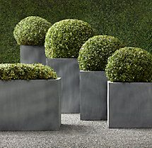"Estate Zinc Square Planter Collection: Small: 18"" sq., 18""Hl Medium: 22"" sq., 22""H; Large: 28"" sq., 28""H; Tall: 16"" sq., 31½""H ($418); Trough: 39½""W x 20""D x 20""H ($480) [3 troughs + 1 tall = $2K]"