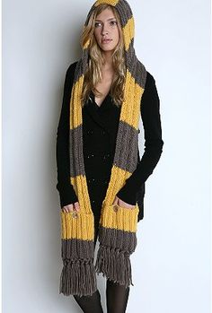 Love this hooded scarf with pockets! urbanoutfitters.com