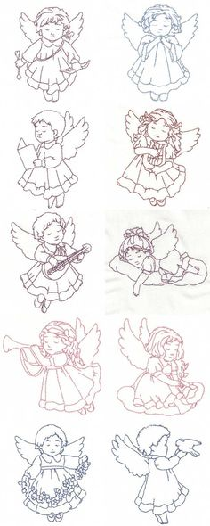 Image Detail for - Machine Embroidery Designs - Redwork Child Angels Set Local Embroidery, Types Of Embroidery, Folk Embroidery, Cross Stitch Embroidery, Machine Embroidery Designs, Quilting Designs, Learning To Embroider, Christmas Embroidery Patterns, Christmas Coloring Pages