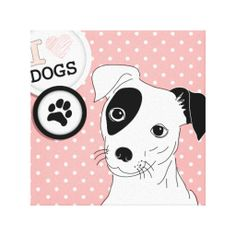 Pink I Love Dogs Black and White Dog Canvas Prints