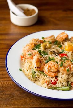Five Spiced Fried Rice with step by step photos. Chinese five spiced rice made with prawns, veggies and five spiced powder. Spiced Rice, Five Spice Powder, Steamed Rice, India Food, Prawn, Lunches And Dinners, Rice Recipes, Seafood, Stuffed Mushrooms