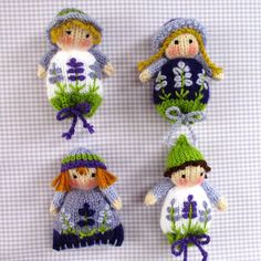 free knitting pattern - Lavender Sachet Dolls pattern by Wendy Phillips Free knitting pattern for lavender sachet dolls These would make cute finger puppets by knitting an inside finger 'tube'. Knitting Patterns Gifts Measuring these little lavender sache Christmas Knitting Patterns, Knitting Patterns Free, Crochet Patterns, Free Pattern, Sweater Patterns, Stitch Patterns, Lavender Bags, Lavender Sachets, Paintbox Yarn