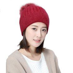 61b32936d15 Pom Pom Women BeanieElaco Women Winter Woolen Knitted Woolen Warm Beanie Hat  Wine Red  gt