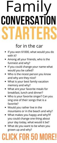 Conversation Starter Questions, Conversation Starters For Kids, Conversation Topics, Fun Questions To Ask, Funny Questions, Road Trip With Kids, Family Road Trips, Family Night, Games For Kids