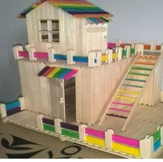 ⛺ Casinha bem Colorida feita com Palito de Picolé -  /   ⛺ Colorful House Made with Popsicle Stick -