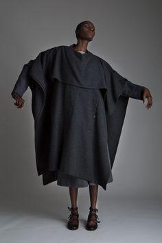 Vintage Issey Miyake Poncho, Jean Paul Gautier Blazer, Valentino Gray Wool Gauchos and Zoran Top Designer Vintage Clothing Dark Minimal Fashion