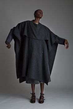 Vintage Issey Miyake Poncho, Jean Paul Gautier Blazer, Valentino Gray Wool Gauchos and Zoran Top Designer Vintage Clothing Dark Minimal Fashion