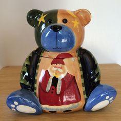 Christmas Teddy Bear Cookie Jar Colorful Santa Claus Snowman Tree   eBay