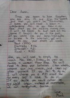 Mum's frustration... pens epic letter to 13-year-old son who is getting too big for his boots.