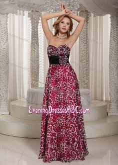 2014 Leopard Printed Sweetheart Women Evening Dresses with Sash