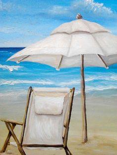 Beach Ocean Oil painting caribbean tropical beach seascape landscape water umbrella CANVAS PRINT of original - 30x15 by Heather Wallace