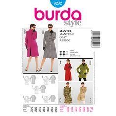 Burda Pattern 8292 Women's Coat Burda Sewing Patterns, Coat Pattern Sewing, Coat Patterns, Pattern Books, Clothing Patterns, Sewing Ideas, Sewing Projects, Style Patterns, Clothing Ideas