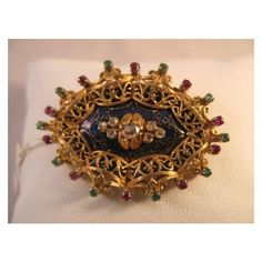 Vintage 18k Gold Blue Enameled Brooch with Diamonds Emeralds and... ❤ liked on Polyvore featuring jewelry, brooches, ruby jewelry, vintage enamel brooch, gold diamond jewelry, diamond jewelry and vintage brooches