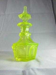 Early Boston Sandwhich Canary or Vaseline Glass Perfume Bottle   eBay