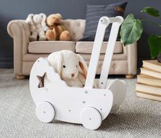 White Wooden Dolls Pram With Bed Set - traditional toys & games