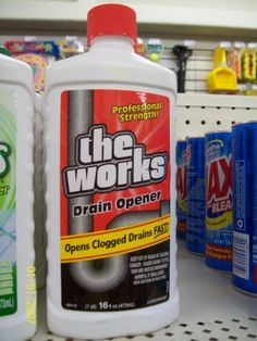 the works drain cleaner 16oz single by homecare labs 995 opens clogged