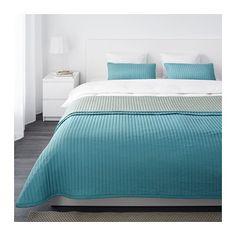 KARIT Colcha y 2 fundas almohada, turquesa turquesa 260x280/40x65 cm
