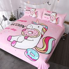 Cute Unicorn Bedding Sets Duvet Cover Rainbow Hair Kids Bedding Sets Colorful Pink Blue Girly Bedspreads Donuts Twin/Full/Queen/King Size Store from the world's largest selection ✔ Exclusive Products ✔ Fast delivery, low cost ✔ Professional Service Unicorn Bedroom Decor, Unicorn Rooms, Unicorn Bed Set, Unicorn Kids, Cute Unicorn, Rainbow Unicorn, Unicorn Donut, Unicorn Wall, Beautiful Unicorn