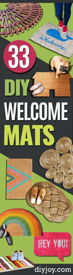 DIY Welcome Mats - Greet Guests in Style with These Easy and Cheap Home Decor Ideas for Your Entry. Doormat Tutorials for Creative Ways to Cover Your Floors and Front Door http://diyjoy.com/diy-welcome-mats