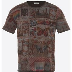 Valentino Uomo Cuban Boxes Print T-shirt ($475) ❤ liked on Polyvore featuring men's fashion, men's clothing, men's shirts, men's t-shirts, dark brown, mens tall t shirts, mens slim fit t shirts, mens jersey shirts, mens cotton shirts and mens slim fit shirts