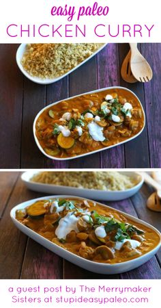 Easy Chicken Curry with a secret ingredient (pumpkin). Use coconut oil and serve with quinoa if you like for D-Burn (with shiitakes) or Phase 3. Feel free to play with the spices -- cumin, ginger, and cilantro would be a powerful D-Burn combo.