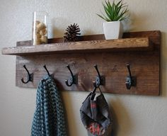 Rustic Modern Light Walnut 5 Hanger Hook Coat Hat Rack with Floating Shelf by KeoDecor on Etsy