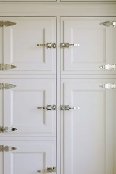 Ivory Kitchen Cabinets with Chrome Vintage Latch Hardware - Transitional - Kitchen Black Door Handles, Cabinet Door Handles, Kitchen Cabinet Hardware, Cabinet Doors, Ivory Kitchen Cabinets, Shop Interiors, Custom Cabinetry, Large Furniture, Tall Cabinet Storage