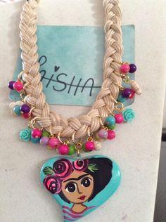 Collar de Frida Kahlo Visita me en Facebook Bisutería Laisha