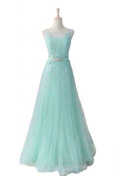 Gorgeous Bride Elegant Rundkragen A-Linie Satin Tuell Spitze Lang Abendkleid Festkleid Ballkleid: Amazon.de: Bekleidung