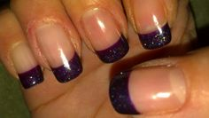 Plum glitter gel french manicure on my natural nails.    uploaded by lulu D