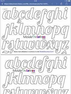 Alphabet Templates, Alphabet Stencils, Stencil Templates, Tattoo Lettering Fonts, Graffiti Lettering, Lettering Design, Beautiful Handwriting, Cursive Handwriting, Bubble Letters