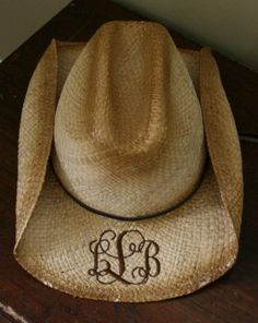 Hell yeah, I want one of these for this summer!!!  Monogrammed Cowboy Hat - www.tinytulip.com