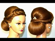 Wedding hairstyle for medium long hair, elegant updo. - YouTube