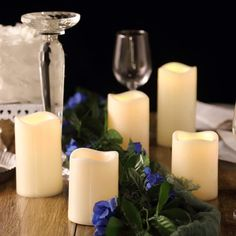 Set of 5 - Ivory Flickering Flameless LED Candles - Color Changing Battery Operated Pillar Candles With Remote - Romantic Candle Light Dinner, Romantic Candles, Natural Candles, Flameless Candles, Votive Candles, Event Lighting, Burning Candle, Light Decorations, Ivory