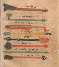 century medical instruments from 'Kitab al-Tasrif' by the century Andalucian doctor, Abu al-Qasim al-Zahrawi. Islamic World, Islamic Art, Islam And Science, Magic Squares, Vintage Medical, Medieval Times, Medical History, Meaning Of Life, Illuminated Manuscript