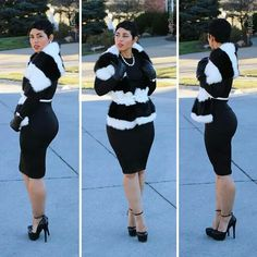 Little Black Dress + Faux Fur Scarf White Fashion, Look Fashion, Diy Fashion, Fashion Outfits, Womens Fashion, Fashion Trends, Funky Fashion, Fashion Boutique, Fall Fashion