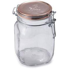 Bormioli Rocco 1 Liter Fido Copper Metallic Jar ($10) ❤ liked on Polyvore featuring home, kitchen & dining, food storage containers, pasta jar, bormioli rocco jars and bormioli rocco