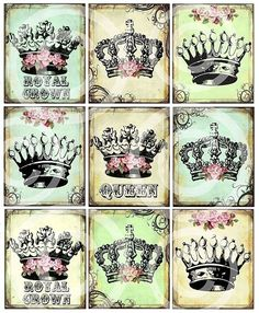 ReGaL SeT of 9 RoYaL Queen Princess CRoWNs printable art original designs DIGITAL CoLLaGe SHeeT