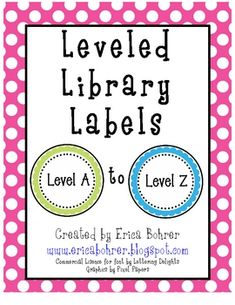 This download is for circle shaped level library labels for levels A through Z.  Large labels are included for use on leveled library bins and/or g...