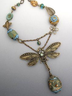 Woodland Dragonfly Necklace:By ~Island Bangles ~  She makes BEAUTIFUL jewelry