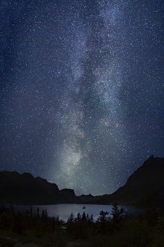 Milky way, nightsky upon a lake in the mountains