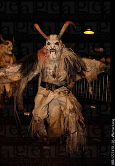 Perchtenlauf;  Austria (rural);  late December - early January;  A ritual held sometimes on the longest night of the year.  St. Nicholaus and the Perchten (spirits of spring and fertililty) go house to house caroling and acting out their victorious combat with the ogres of winter.
